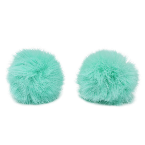 Pompon Made Of Artificial Fur (rabbit), D-6cm, 2 Pcs/pack (G Turquoise)