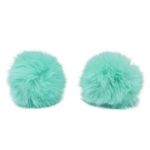Pompon Made Of Artificial Fur (rabbit), D-6cm, 2 Pcs/pack (G Turquoise)