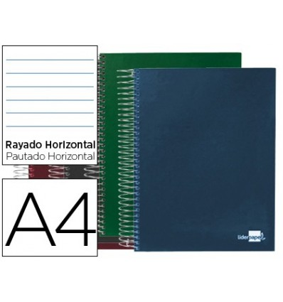 SPIRAL NOTEBOOK LEADERPAPER A4 MICRO PAPERCOAT LINED TOP 140H 80GSM HORIZONTAL 5 BAN DAS 4 DRILLS COLORS SURTIDODO