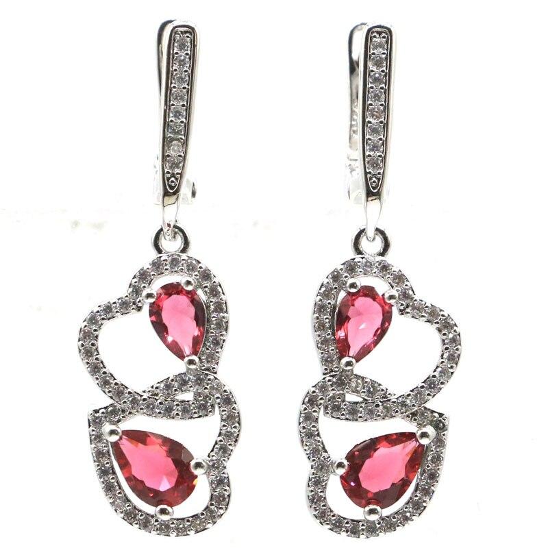 37x11mm Wunderschöne Erstellt Rosa Rapsberry Rhodolith Granat Weiß CZ Geschenk Für frau Silber Ohrringe