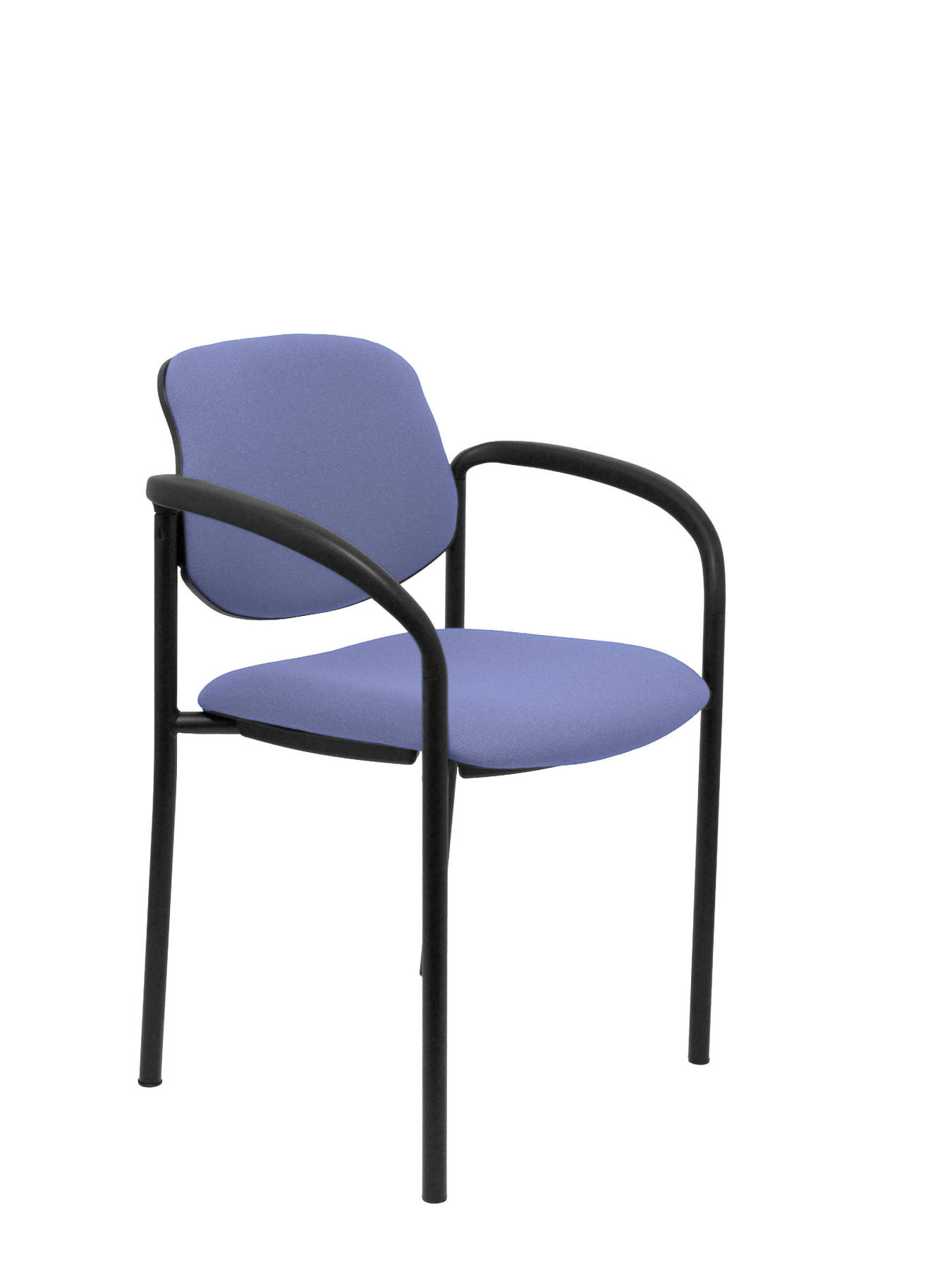 Visitor Chair 4's Topsy, With Arms And Estructrua Negro-up Seat And Backstop Upholstered In BALI Tissue Color Blue Clar