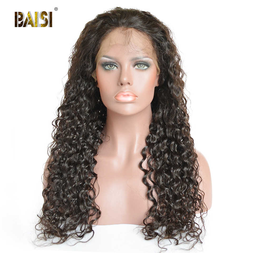 BAISI Hair Brazilian Hair Wigs Deep Wave Full Lace Wigs with Pre-Plucked Natural Hairline Transparent Lace Human Wigs