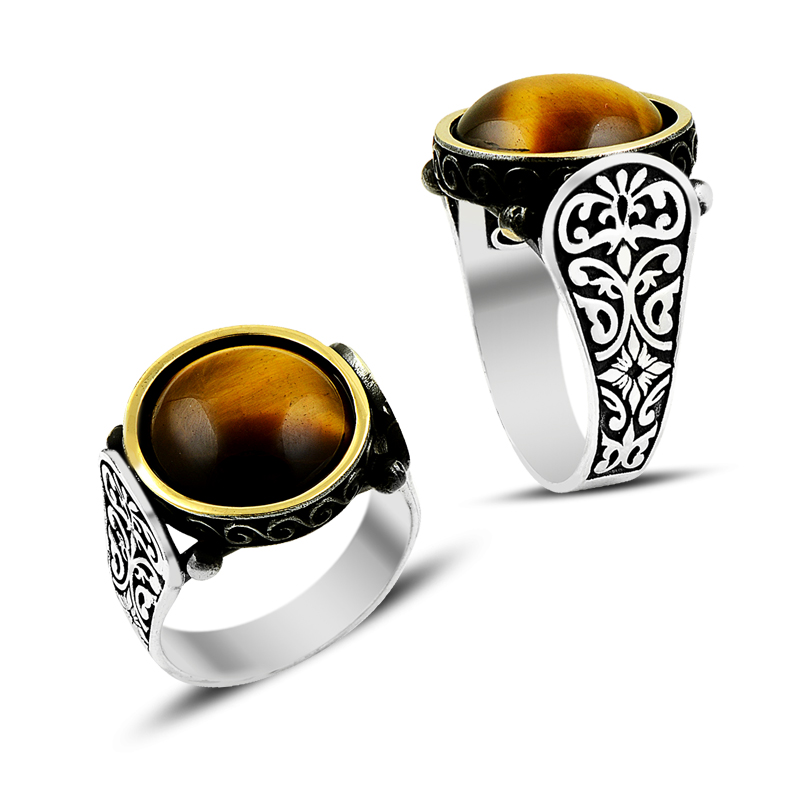 925 Silver Tiger Eye Designed Men Rings for Daily Wearing