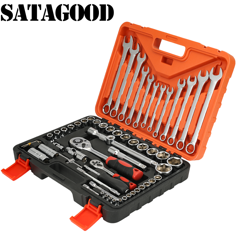 SATAGOOD 61 Pcs Set Socket Wrench Set Spanner Car Machine Repair Service Tools Kit Torque Wrench Tool Set Ratchet Wrench G-10008