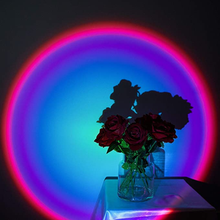 Sunset Projection Lamp Romantic Rainbow Floor Stand Light Atmosphere Night Lights for Party Home Living Room Wedding