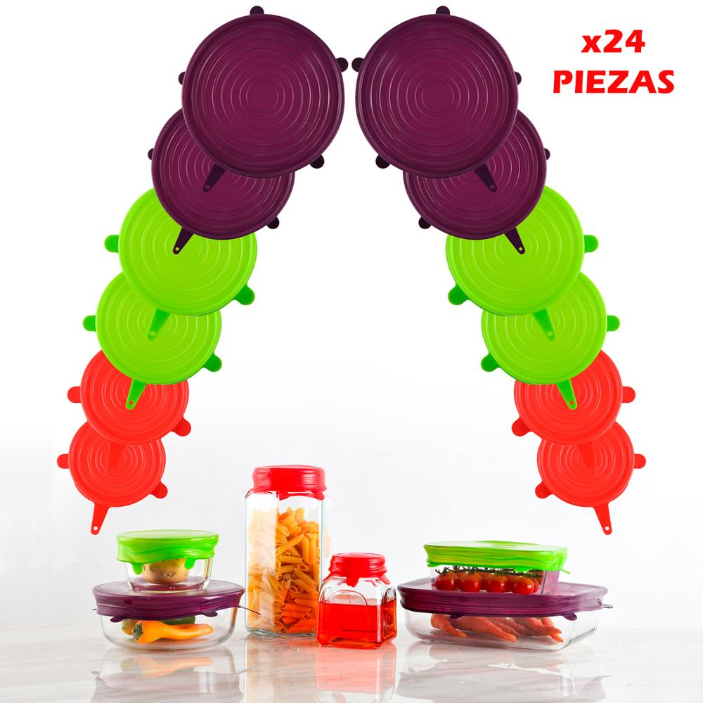 Pack 24/12 Pieces De Silicone Lids SAN IGNACIO In Various Colors Collection Jolie