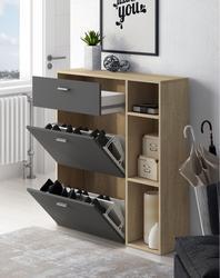 Home Innovation-Zapatero vent, structure de couleur Puccini, couleur gris Anthracite 2 portes chaises en porte-à-faux et le tiroir, 90x26x101.5cm