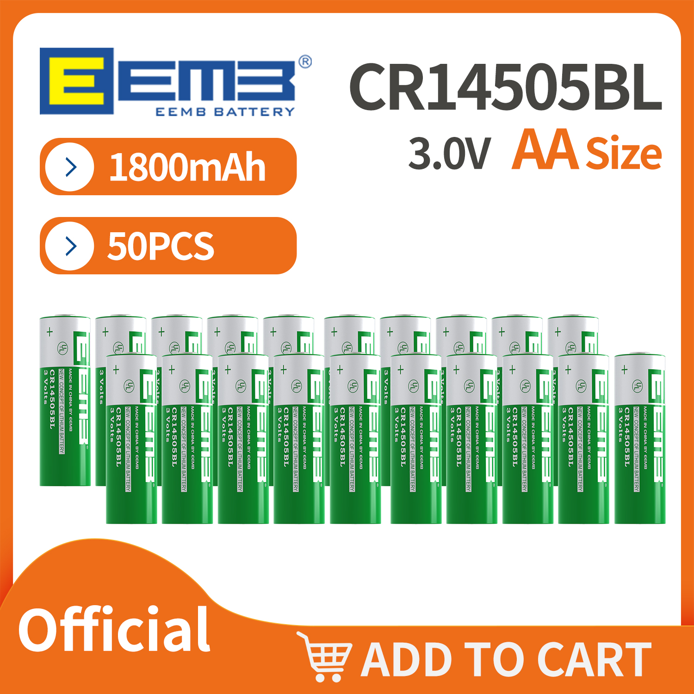 50 шт. EEMB 3 в AA литиевая батарея 1800 мАч CR 14505 BL Первичная литиевая батарея Mno2 цилиндрическая батарея UL сертифицированная батарея
