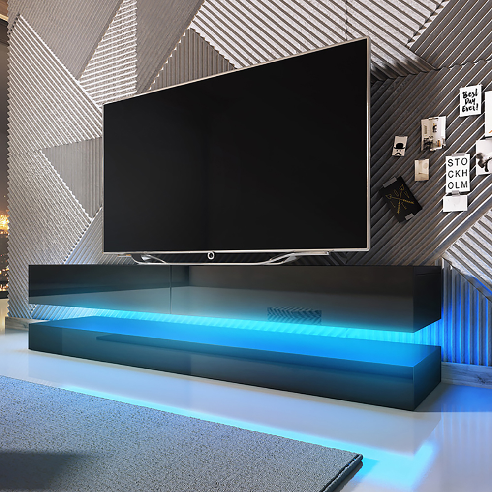 HYLIA Meuble TV suspendu (140 cm, noir mat / noir brillant avec LED)