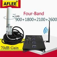 Quatro-Band 900 1800 2100 2600mhz 2g 3g 4g Rede Sinal de Celular GSM Impulsionador Repetidor 4G Amplificador de Celular GSM DCS WCDMA LTE