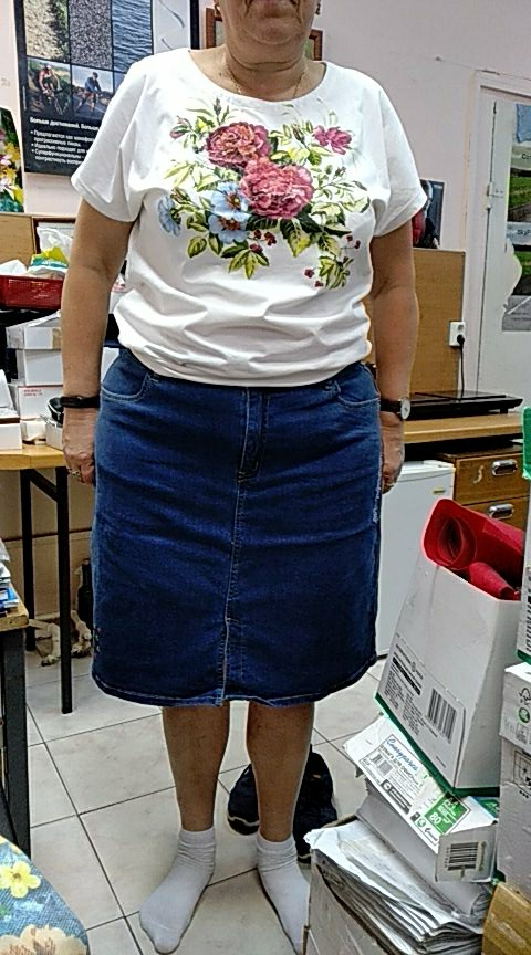 Arrival All Season Stretchy Knee Length Embroidery Denim Skirts Plus Size Fashion Blue A Line Bule Women Skirts photo review