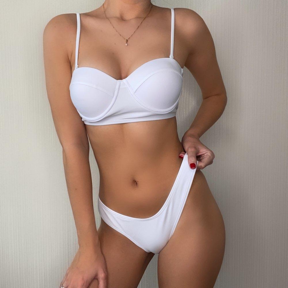 High Waist Swimwear Women Swimsuit 2020 Bikini Bandage Bikinis Set Padded Bathing Suit New Leaf Print Biquini Maillot de bain|Bikini Set|   - AliExpress