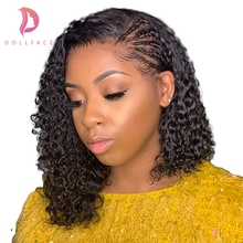 Short Curly Lace Front Human Hair Wigs For Black Women Brazilian Hair Bob Wig With Baby Hair Pre Plucked Free Shipping Dollface new curly wave full lace human hair wigs for black women cheap lace front human hair wigs with baby hair free shipping