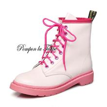 BHS 9011205 Stylish Mixed Colors Genuine Cow Leather 3.5CM Platform Walking Marching Lace Up Women Fashion Martin Boots