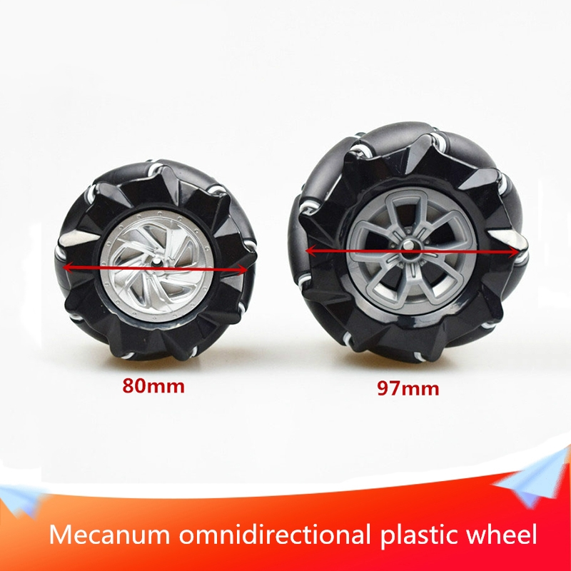 80mm or 97mm Mecanum Omnidirectional Plastic Wheel Consists of 9 Sub-wheels Independently Driven DIY RC Robot Car Chassis Part image