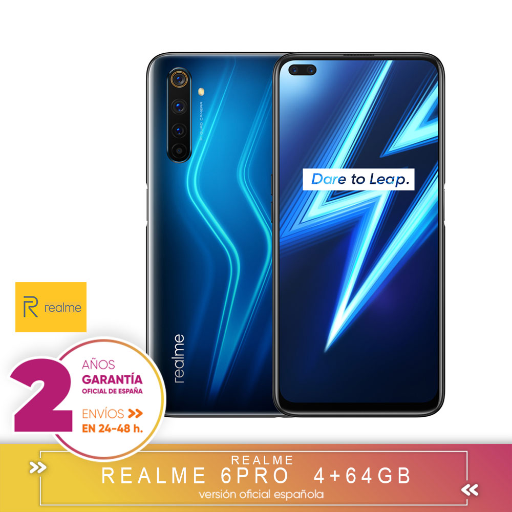 [Official Spanish Version Warranty] Realme 6 Pro 4 + 64gb, 6 + 128gb, 8 + 128gb, Snapdragon 720G, 4 Cameras, Reader Side Paw Prints