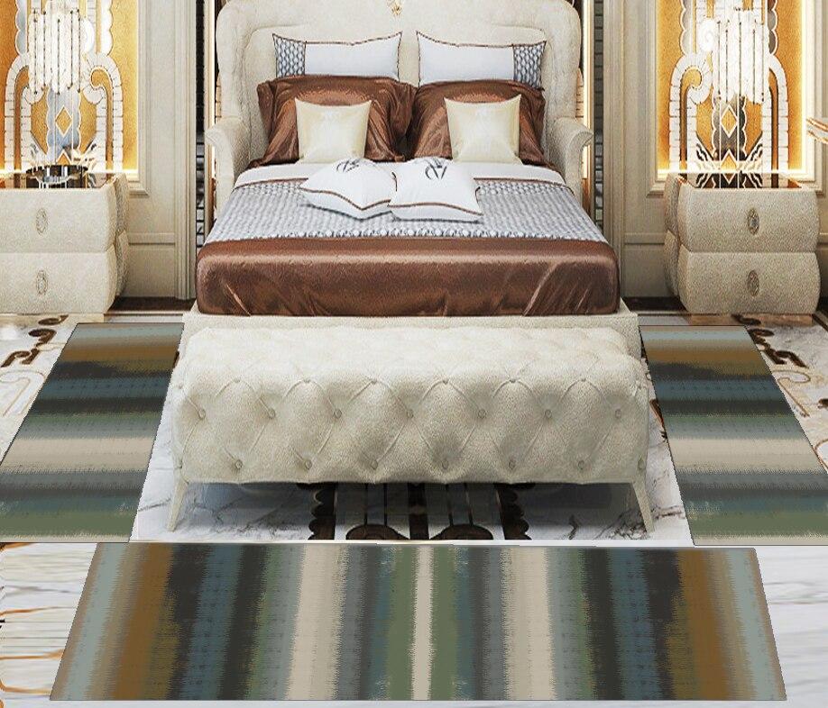 Else 3 Piece Orange Green Beige Grey Watercolor 3d Print Non Slip Microfiber Washable Decor Bedroom Hallway Area Rug Carpet Set