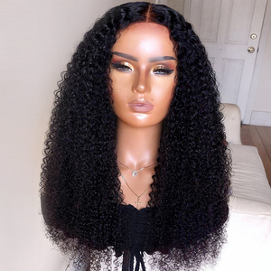 150% density 13x4 long big Kinky Curly Wig Lace Front Human Hair Wigs For Women Black Color Remy Brazilian Hair Wigs Slove(China)