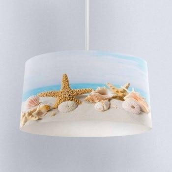 Else Tropical Beach Sand on Sea Stars Digital Printed Fabric Chandelier Lamp Drum Lampshade Floor Ceiling Pendant Light Shade