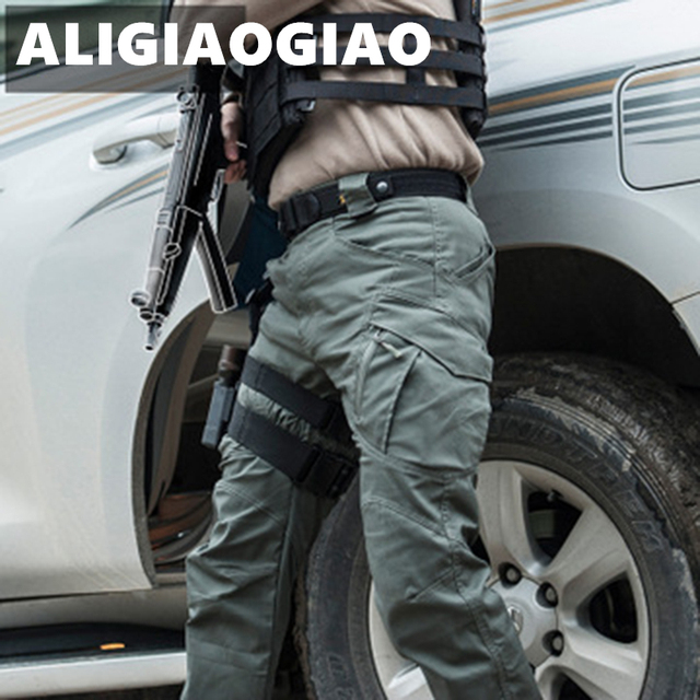 City Military Casual Cargo Pants Elastic Outdoor Army Trousers Men Slim Many Pockets Waterproof Wear Resistant Tactical Pants 3