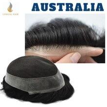 Toupee dos homens toupee laço francês remy sistema de cabelo virgem substituição poli peruca preto real do cabelo humano austrália