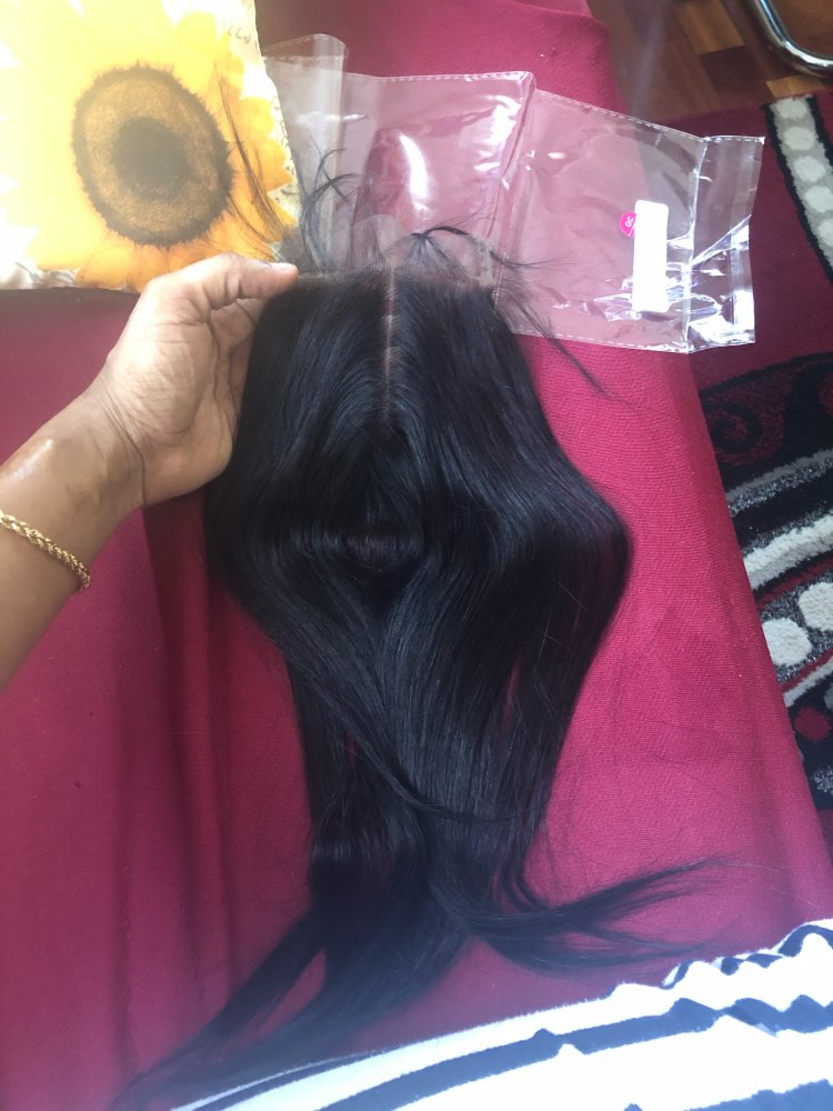 """Gabrielle Brazilian Hair Straight Lace Closure Free/Middle/Three Part Natural Color 4x4 Swiss Lace Top Closure Remy Hair 8""""-22"""" photo review"""