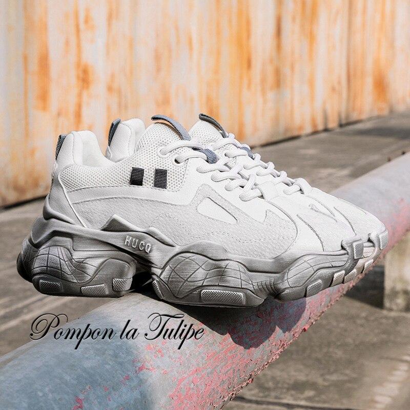 BHS 9011163 Genuine Cow Leather Suede Pigskin 5.5CM Platform Sport Walking Running Training Casual Shoes Women Sneakers