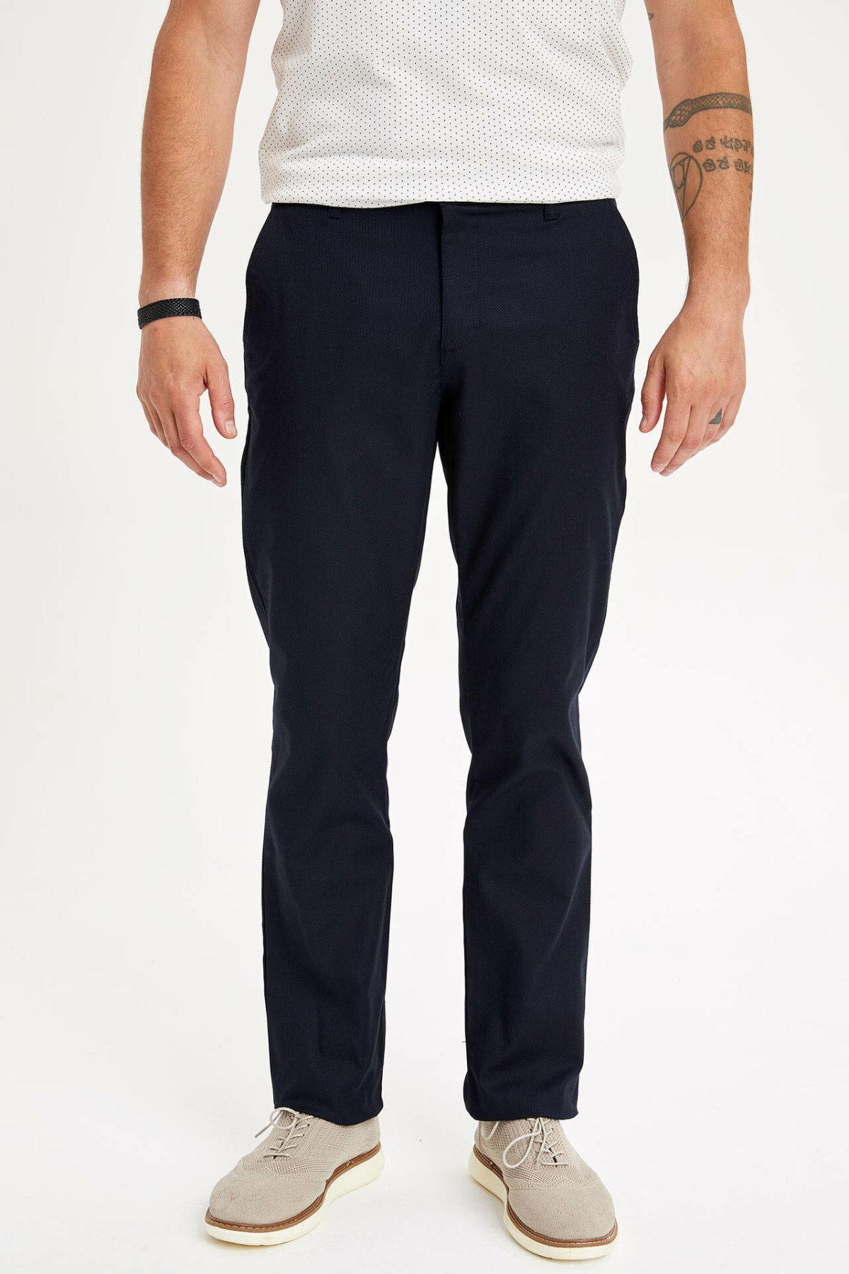 DeFacto Men's Solid Loose Casual Trousers Male Classic Style Straight Pant Cotton High Quality Fashion Pants Men - L3730AZ19SM