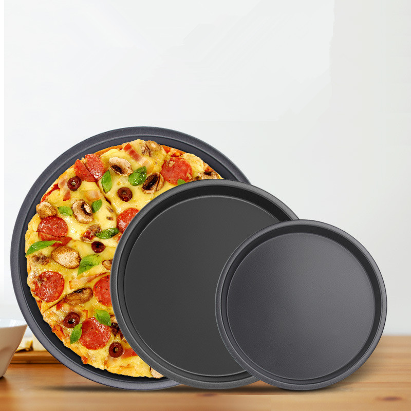 Plateau à Pizza antiadhésif en acier au carbone | Plat à Pizza rond profond, plateau à Pizza, outil de cuisson, poêle à Pizza de 6 7 8 pouces