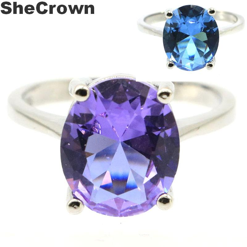 12x10mm SheCrown Amazing Oval Shape Created Color Changing Alexandrite & Topaz Gift Silver Ring