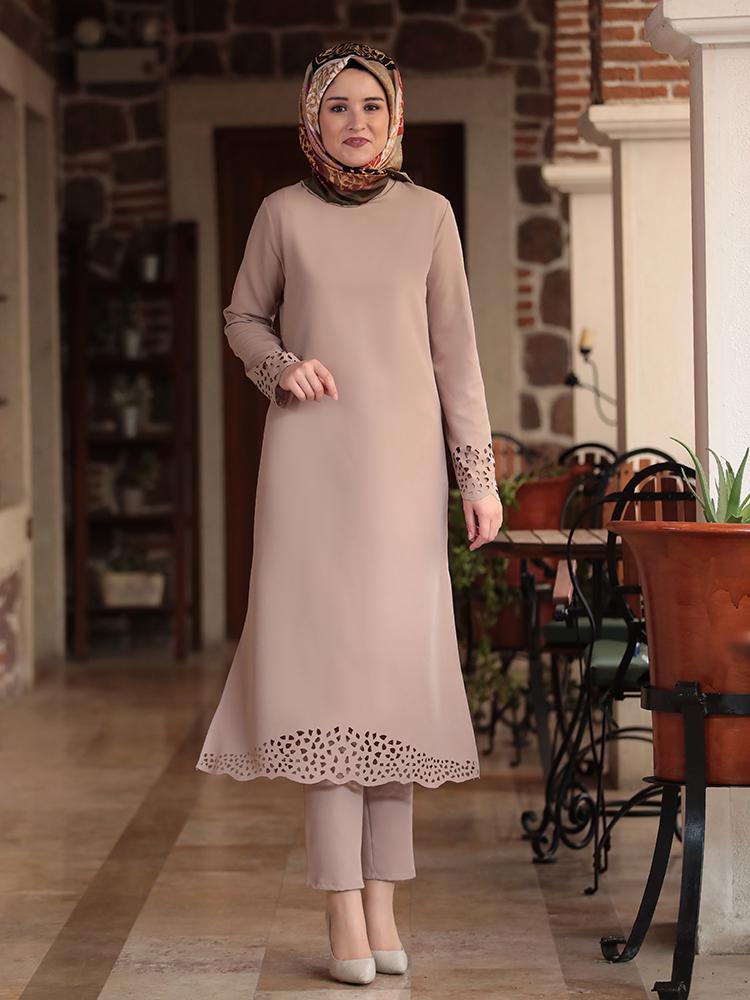 Muslim Set Islamic Women Clothing New Season Laser Cut Crepe Fabric Tunic Trousers Made in Turkey High Quality Hijab Dubai
