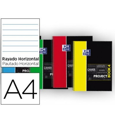 NOTEPAD SPIRAL OXFORD PLASTIC CAP MICROPERFORATED PROJECTBOOK4 DIN A4 80 SHEETS 90 HORIZONTAL COLORS