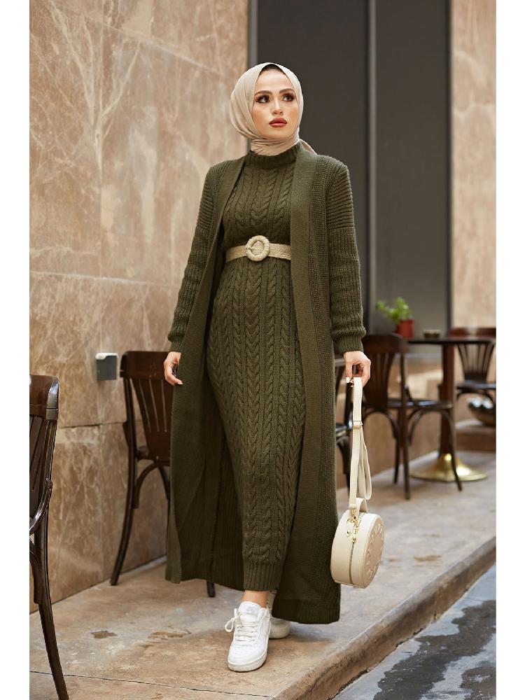 Autumn Winter 2 Piece Dress And Cardigan Set Hijab Knitted Suit Maxi Dress Muslim Turkey Fashion İslamic Women Clothing Abaya