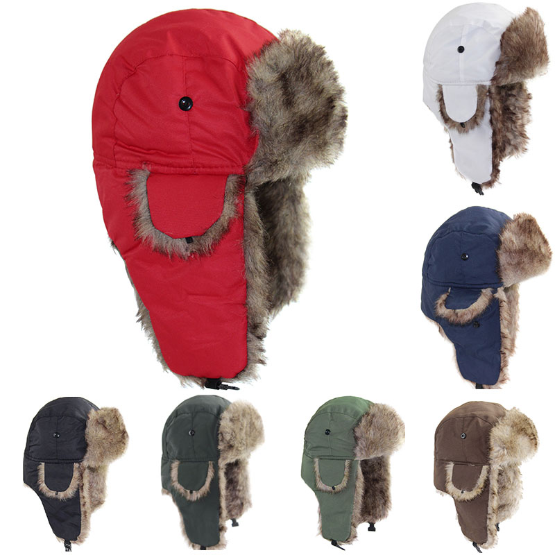 Men Women Kids Winter Wool Fur Ski Ushanka Caps Breathing Trapper Aviator Hats