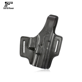 Gunflower 2 Slot Thumb Release Leather OWB Conceal Carry Gun Holster for Glock 17 Pistol Gun Pouch