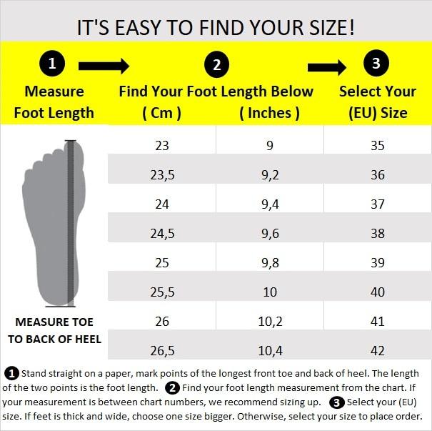 C - Shoe Size Chart 37x24 Cm English 23