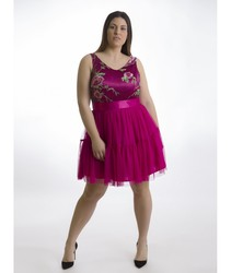 DRESS HERYSA SAGE elegant Dress short sleeveless fuchsia color for stepping out be night in 2020