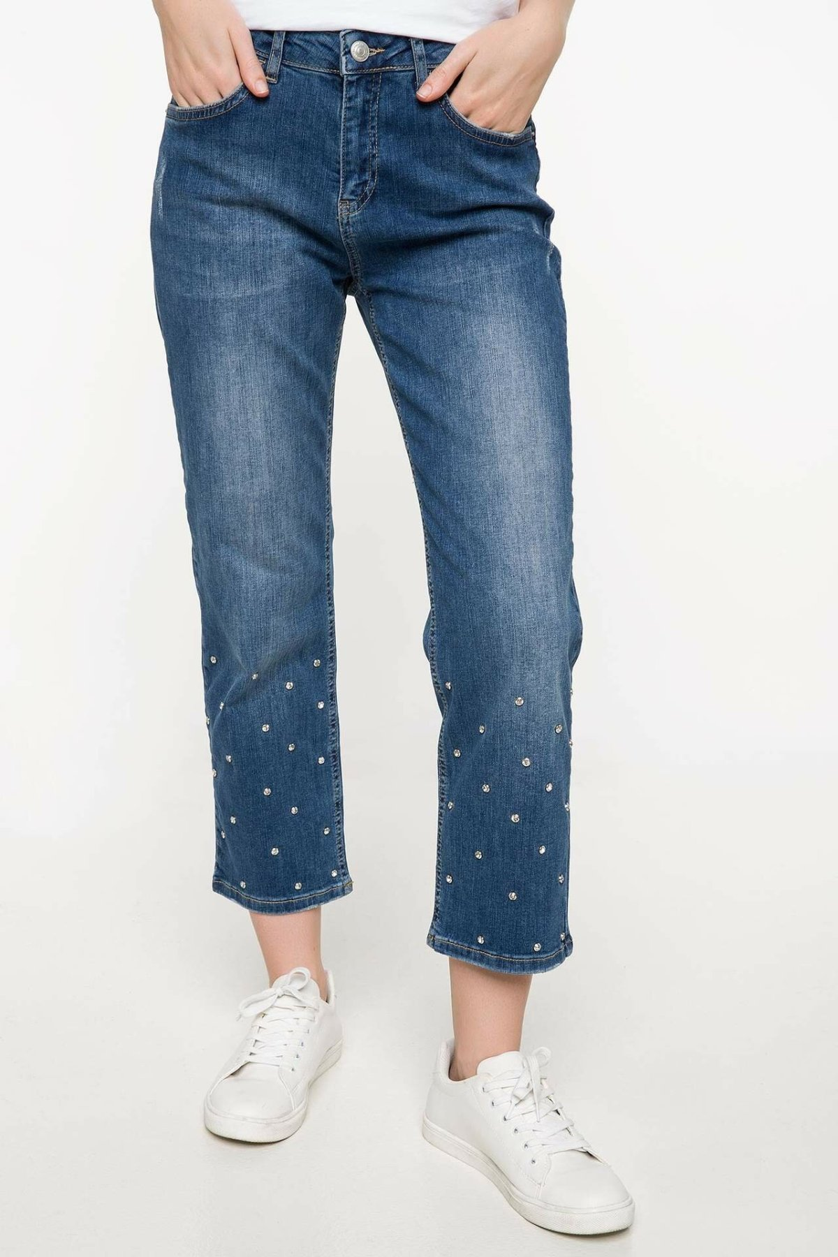 DeFacto Blue Women Loose Jeans Denim Casual Mid-waist  Female Beading Denim Stretch Simple Denim Trousers-J0458AZ18SM