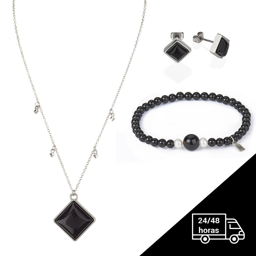 Chain Bracelet, Necklace And Earrings Set Onix - Jewrly Pack