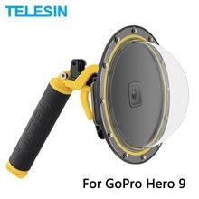 Telesin 6 dome dome porta cúpula 30m caso de mergulho habitação à prova dwaterproof água com bolha flutuante aperto gatilho para gopro hero 9 câmera preta