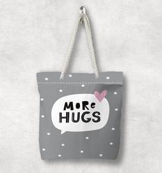 Else/холщовая сумка на молнии с серыми и белыми звездами и розовыми сердечками в скандинавском стиле с белой веревочной ручкой с мультипликац...