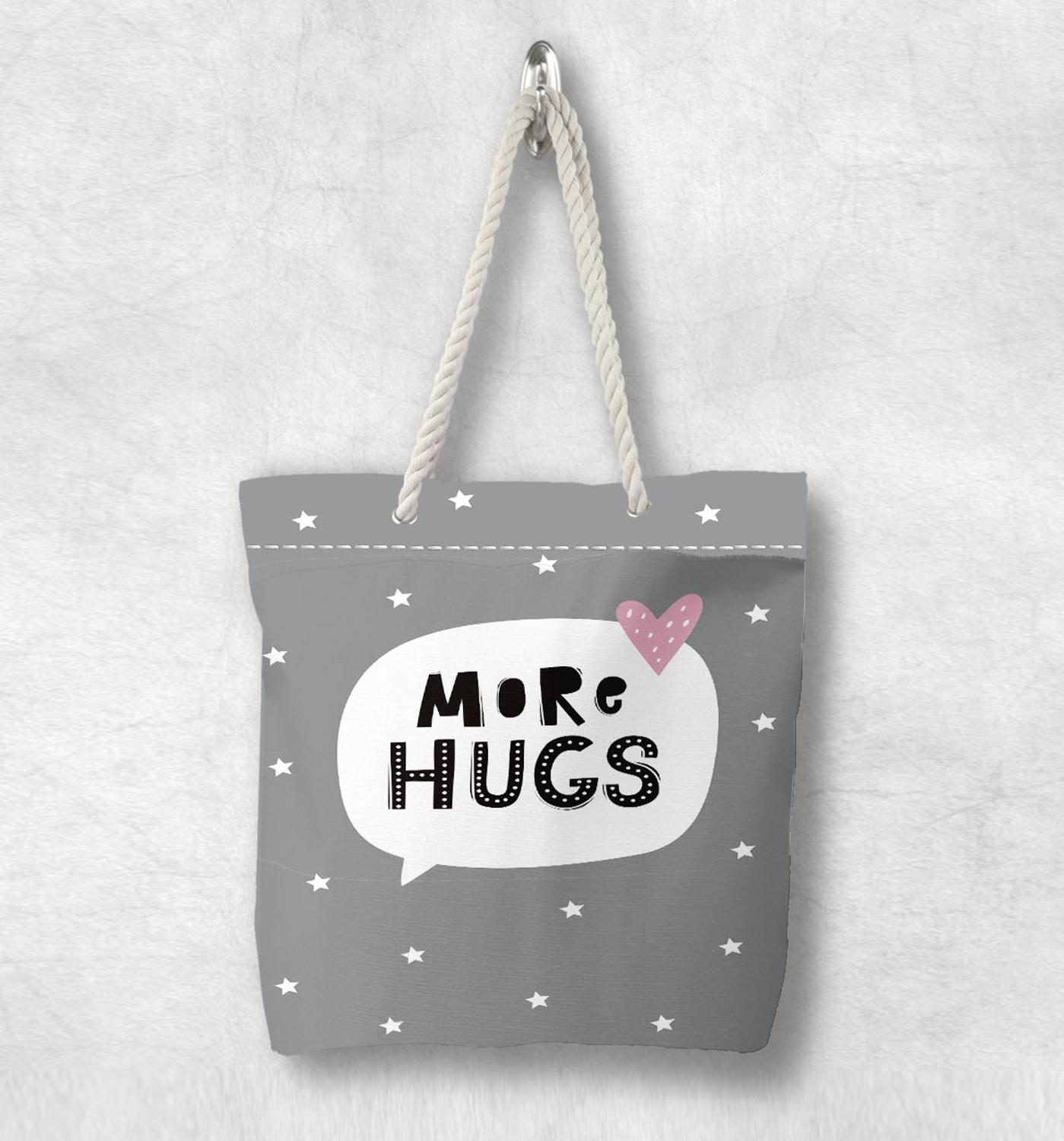Else Gray White Stars Hugs Pink Hearts Scandinavian White Rope Handle Canvas Bag  Cartoon Print Zippered Tote Bag Shoulder Bag
