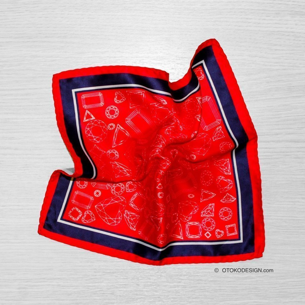 Red Geometric Pocket Square With Blue And White Edging (52655)