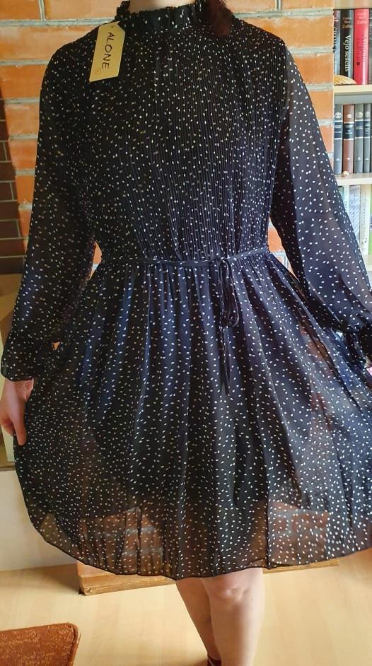 Women Dot Chiffon Dress 2019 Autumn and Winter New Long Sleeve Mid-calf Dress Joker Long Pleated Dresses Party Dresses 7160 50 reviews №4 145417