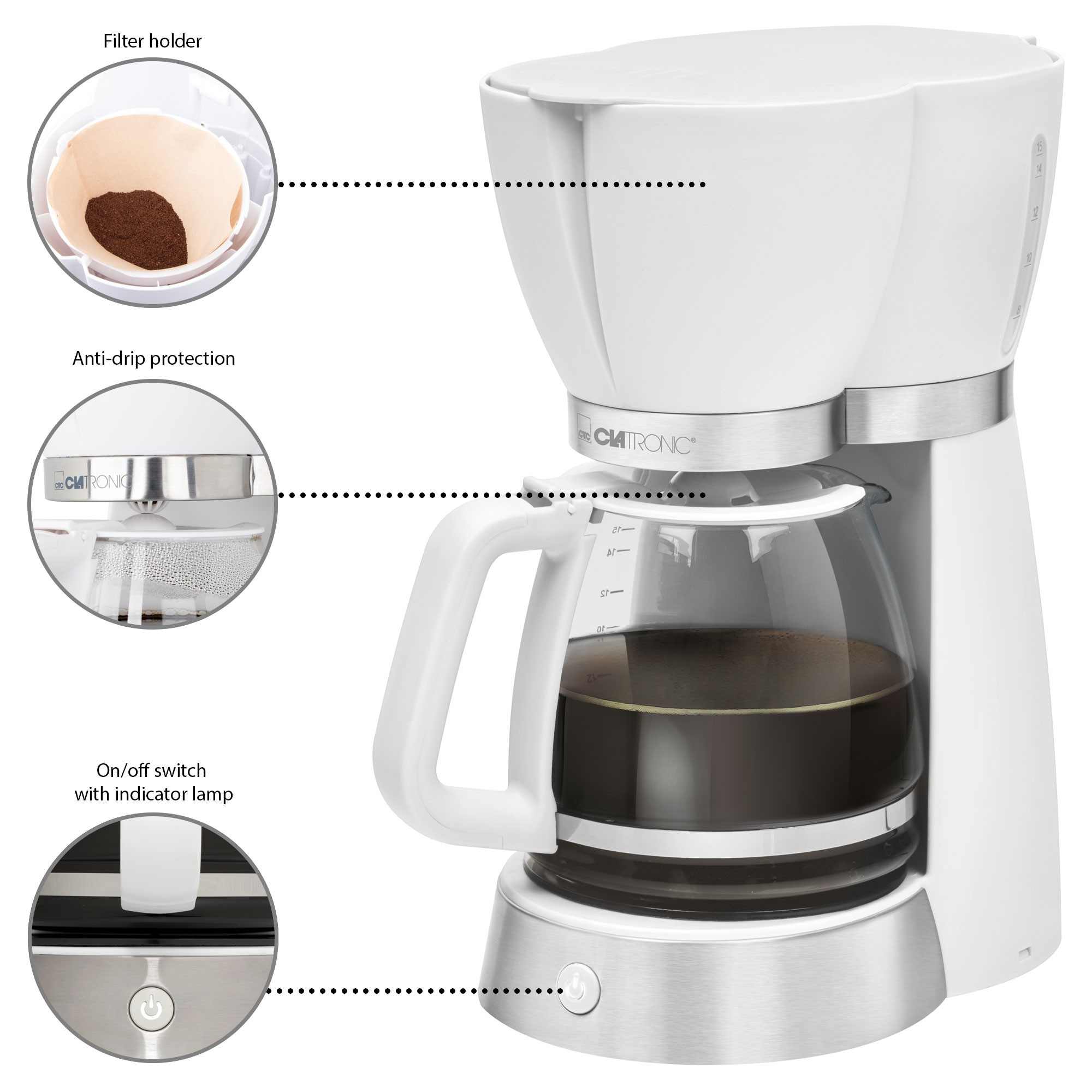 Clatronic KA 3689 Kettle electric drip coffee machine filter capacity 15 cups Maintainer hot Retro Vintage White|Coffee Makers| |  - title=