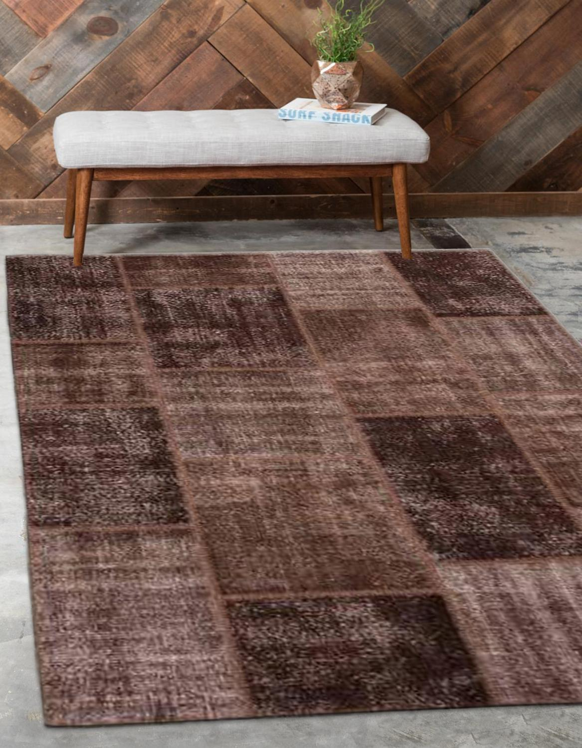 Else Brown Anatolian Patchwork Rug Turkish Handmade Organic Area Rug Decorative Home Decor Wool Patchwork Rug Carpet