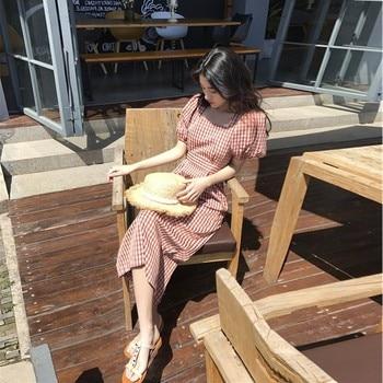 2021 summer new high waist dating dress women's knee is very beautiful, waist shows thin temperament dress women 1