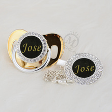 MIYOCAR custom any name photo can make bling silver pacifier and clip black collection BPA free dummy unique P8-1B
