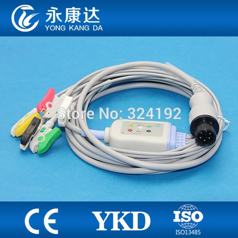 Compatible With Zoll PD 1400 6 Pin ECG Cable 5lead IEC Clip 1K Resistance
