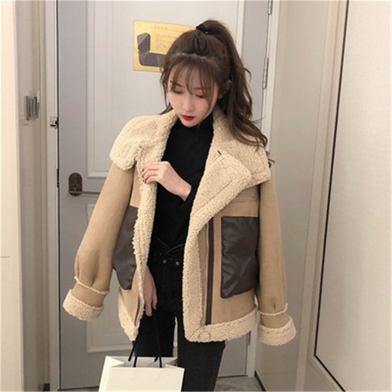 coats Women Lapel Suede Leather Buckle Jacket Faux Lamb Wool Motorcycle fashion new coats and jackets women
